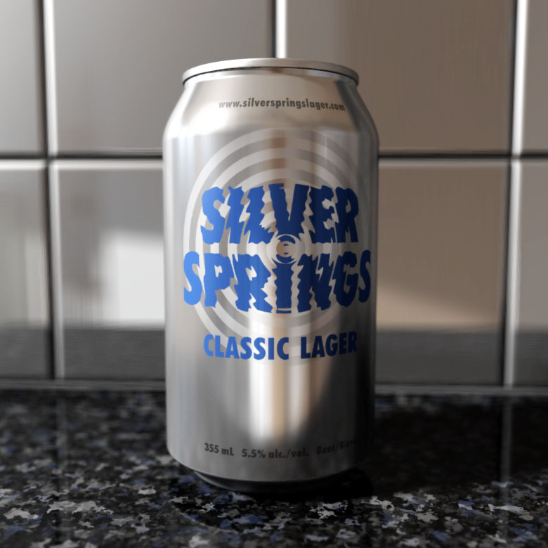 Can of Silver Springs Classic Lager beer showing label design