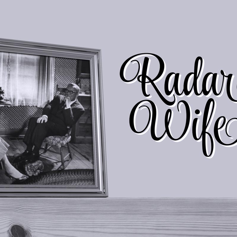 Still from video showing title 'Radar Wife' and a photo of a smiling man in a rocking chair
