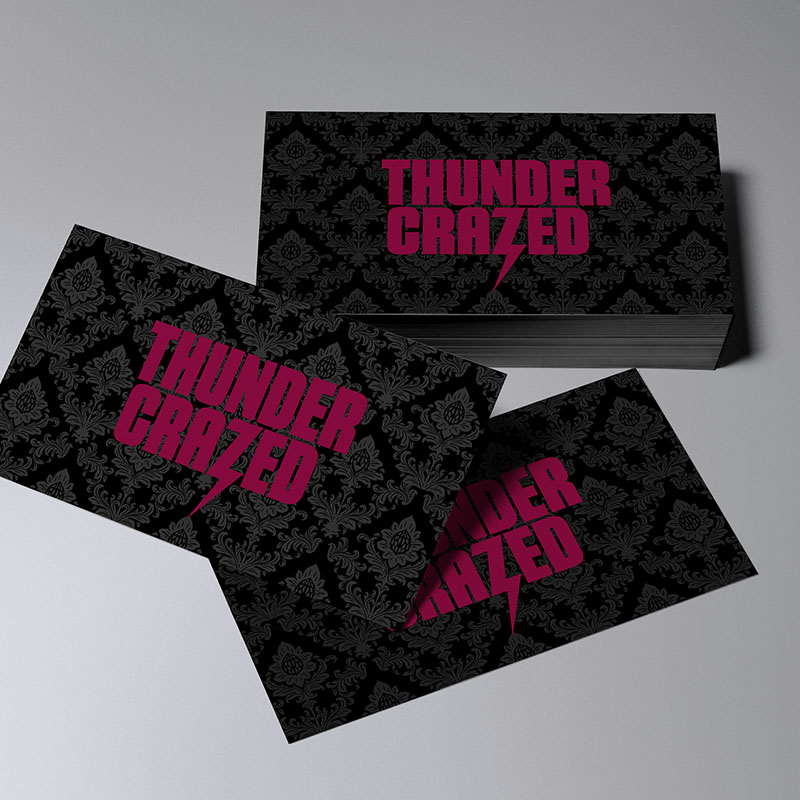 Business cards for a horror film production company